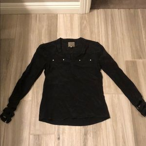 Aryn K black, silk long sleeve top
